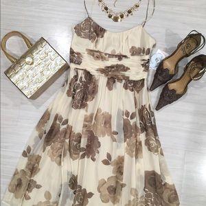 NWT Nine West 100% silk floral beige dress size 2